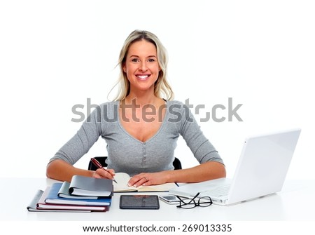 woman working with laptop computer isolated white  background.