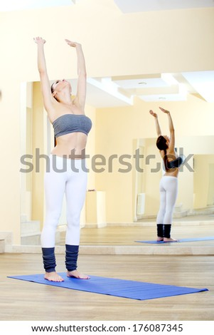woman working yoga exercise 4