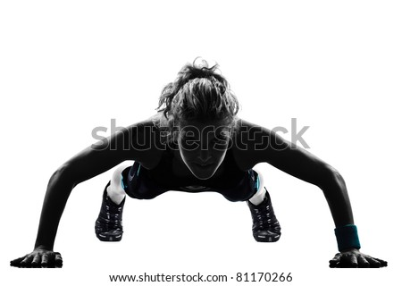 woman workout fitness posture body building exercise exercising on studio isolated white background - stock photo