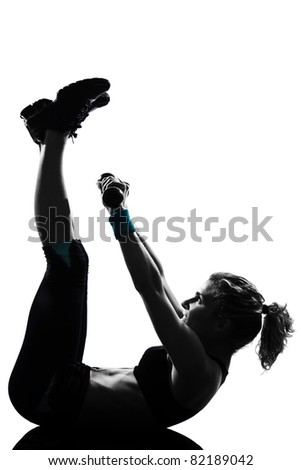 woman workout fitness posture body building weight training exercise exercising on studio isolated white background - stock photo