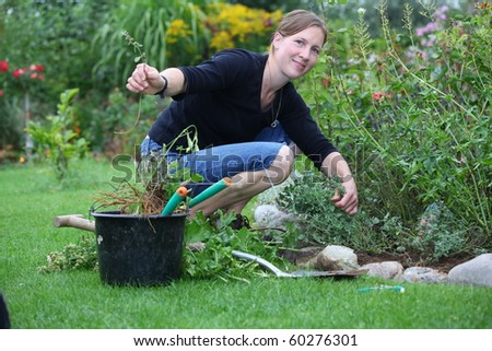 Woman works in the garden