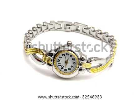 Woman wrist watch isolated on white background - stock photo