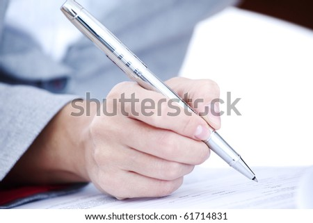 woman write by pen
