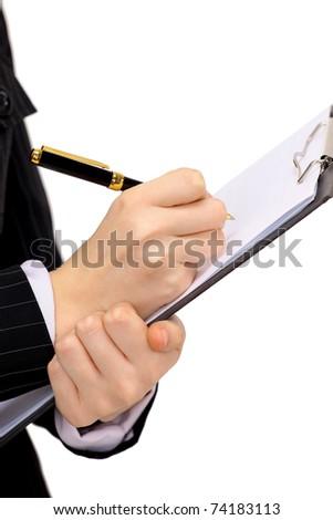 woman write by pen - stock photo