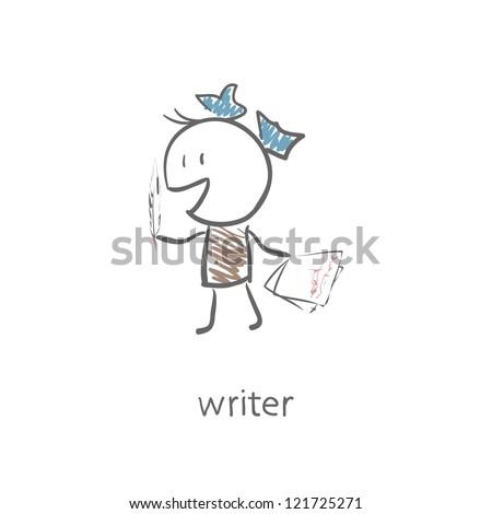 Woman writer. - stock photo