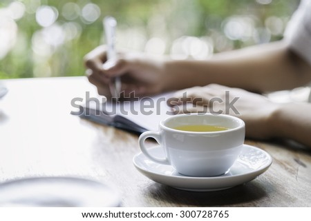 woman writing a diary - stock photo
