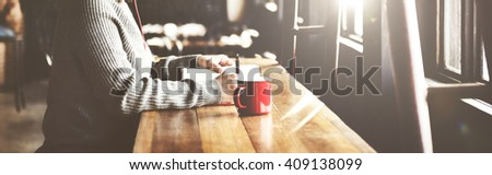 Woman Writing Book Coffee Shop Concept