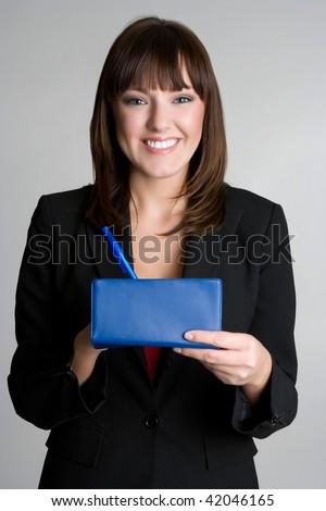 Woman Writing Check - stock photo