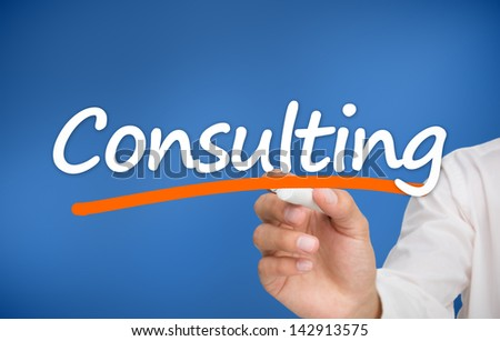 Woman writing consulting on blue background - stock photo