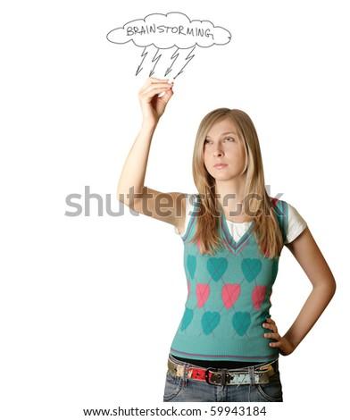 woman writting something isolated on white background - stock photo