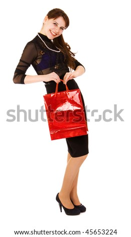 woman wuth red bag
