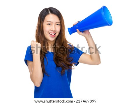 Woman yell with megaphone - stock photo