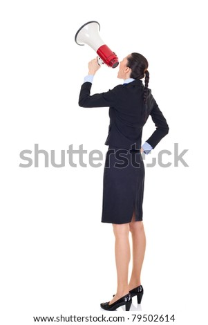 woman yelling in a megaphone, isolated on white background - stock photo
