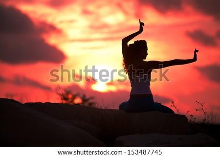 woman yoga - stock photo