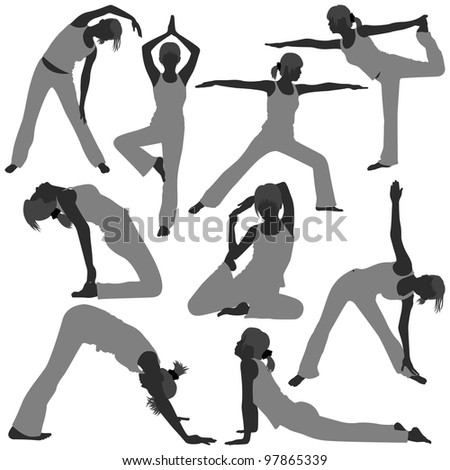 Woman Yoga Exercise Poses Stretch Fitness Healthy Lifestyle - stock photo