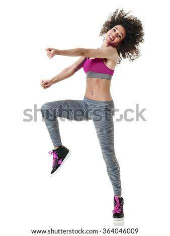 woman zumba dancer dancing fitness exercises - stock photo