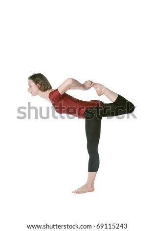 Womanin a red leotard exercising over white background