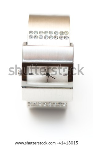 womanish watch  on the white isolated background. jeweller decoration - stock photo