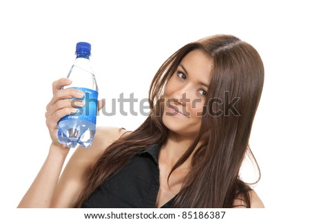 Womanl hold bottle of pure still drinking water. Female holding in hand sparkling mineral bottled water isolated on a white background - stock photo