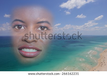 Womans face over the beach double exposure image - stock photo