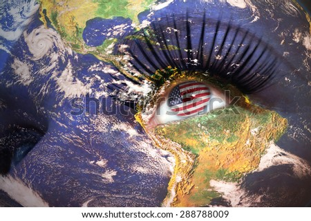 womans face with planet Earth texture and american flag inside the eye. Elements of this image furnished by NASA. - stock photo