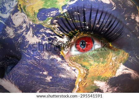womans face with planet Earth texture and tennessee state flag inside the eye. Elements of this image furnished by NASA. - stock photo