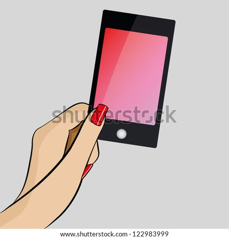 Womans hand holding a modern mobile phone - stock photo