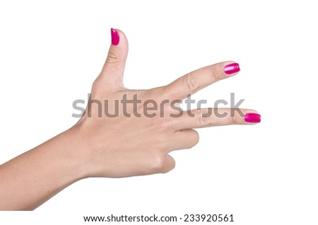 Womans hand making sign three. Isolated on white background - stock photo