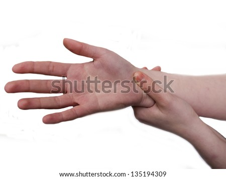 womans hand suffering pain