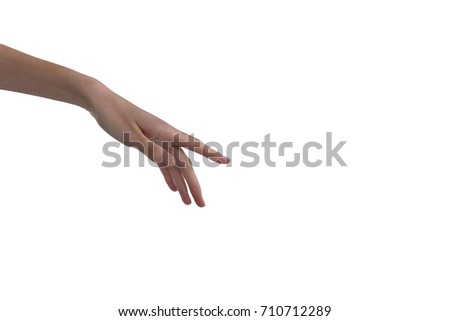 Womans hand using invisible screen against white background