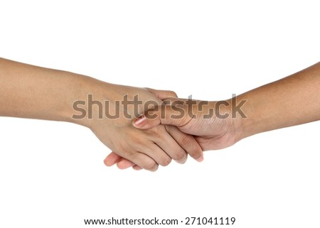 Womans hands clasped arm wrestling, isolated on white - stock photo