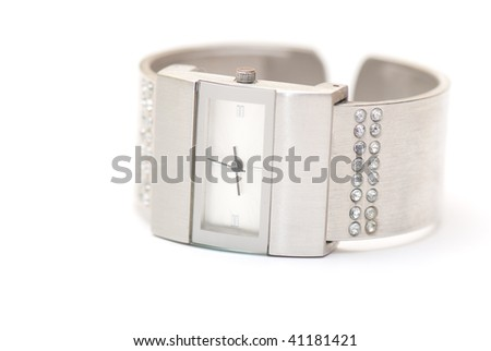 womans watch  on the white isolated background. jeweller decoration - stock photo