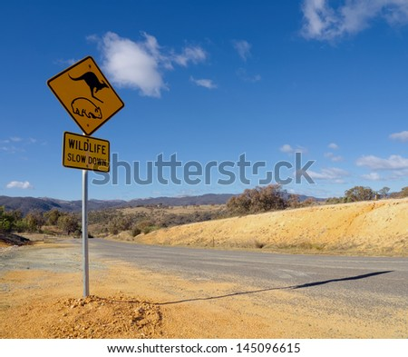 wombat and kangaroo warning sign on a road in Australian outback - stock photo