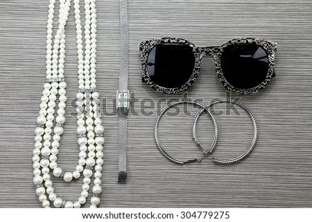 Women accessories, Still life of fashion woman. Overhead of essentials fashion woman objects. - stock photo