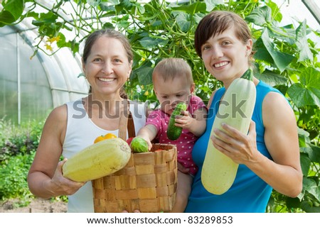 Women and baby  with  harvested vegetables in greenhouse - stock photo