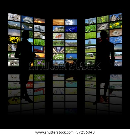 women and huge lcd panel presentation - stock photo