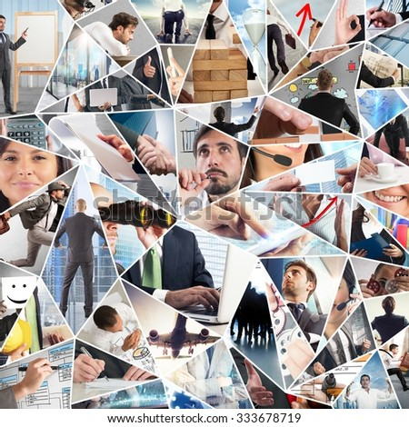 Women and men in their business life - stock photo