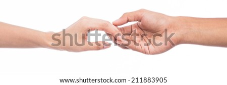 Women and men touch each other gently. - stock photo