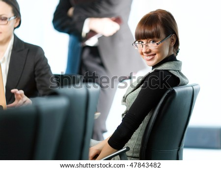 Women and nice girl in glasses with smile - stock photo