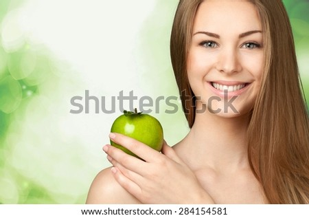 Women, Apple, Fruit.