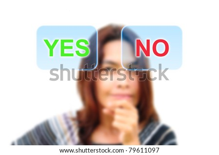 women are deciding yes or no - stock photo