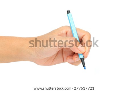Women are holding COLOR PEN was going to write something on a white background. - stock photo