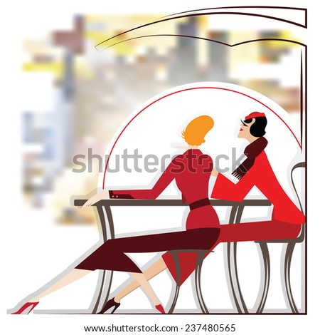 Women are sitting in cafe - stock illustration - stock photo