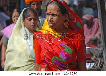 women at pushkar, rajasthan, India - stock photo