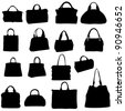 women bags Raster version silhouette - stock photo