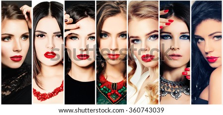 Women. Beauty Collage. Fashion Faces.  - stock photo