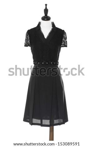 Women black evening dress on a dummy isolated  - stock photo