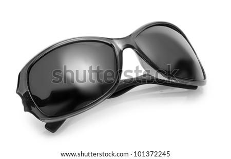 Women black sunglasses isolated on white - stock photo