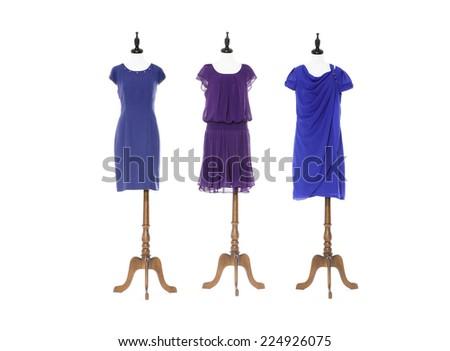 Women blue evening dress on three dummy - full-length - stock photo