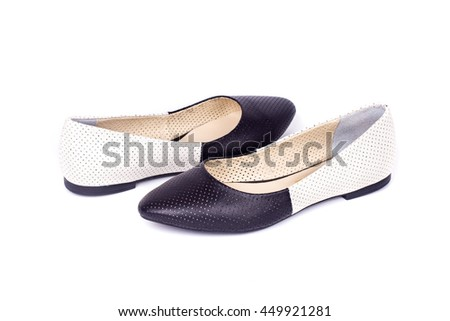 Women boat shoes isolated on white background. Ballerina shoes.